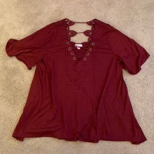 Red lace up blouse